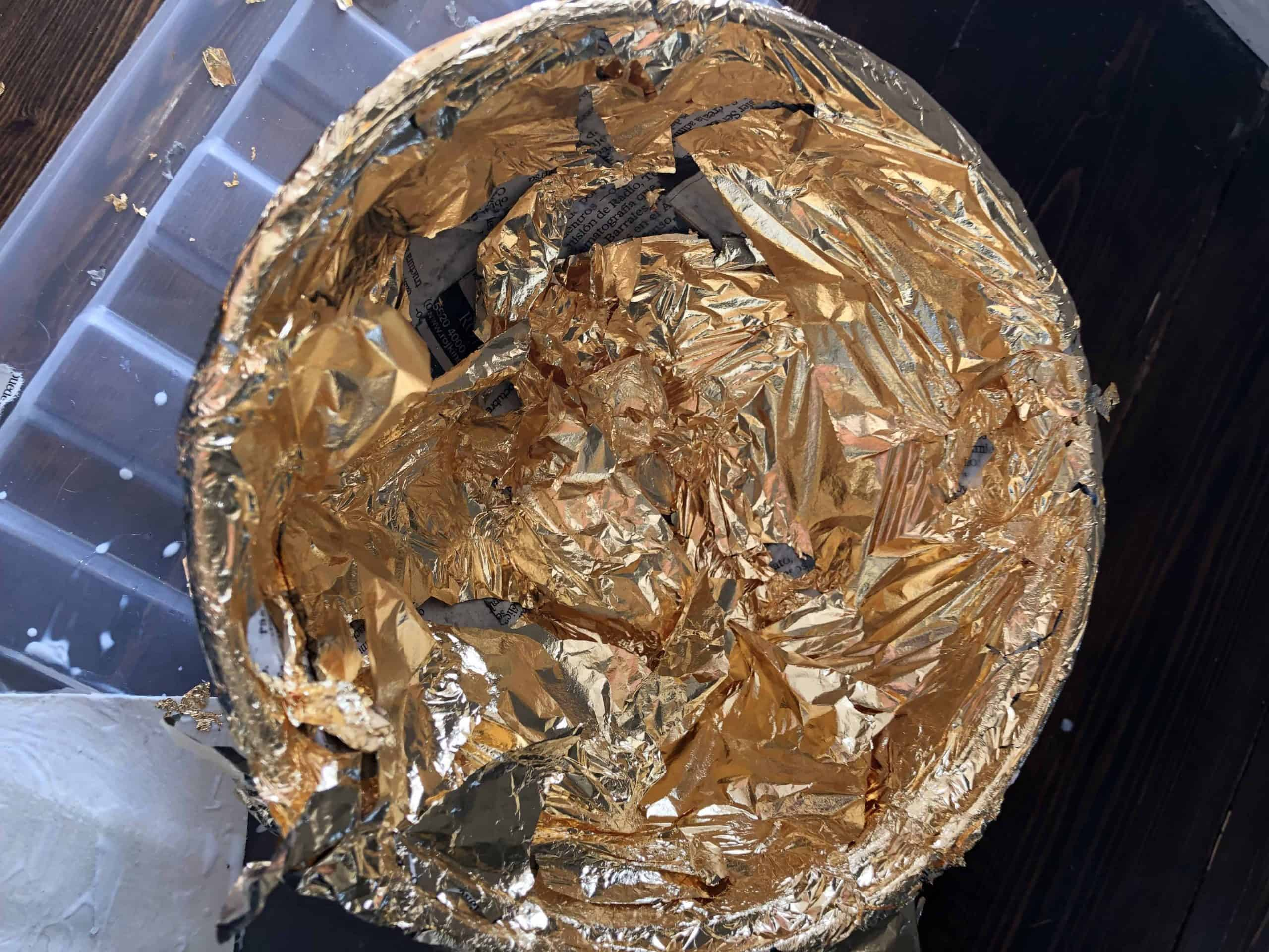 diy trinket bowl faux gold leaf