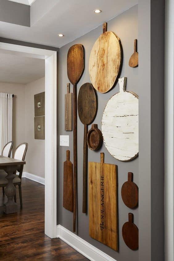 chopping board wall display for a blank wall