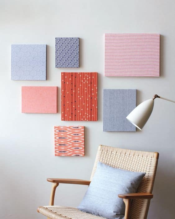 fabric wrapped frames as wall art for blank walls