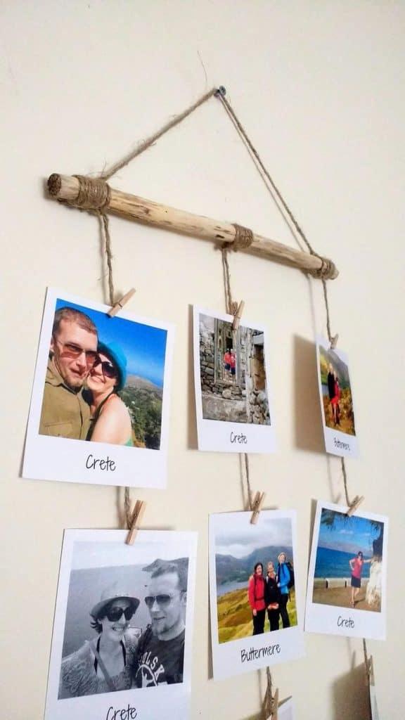 DIY photo display wall hanging