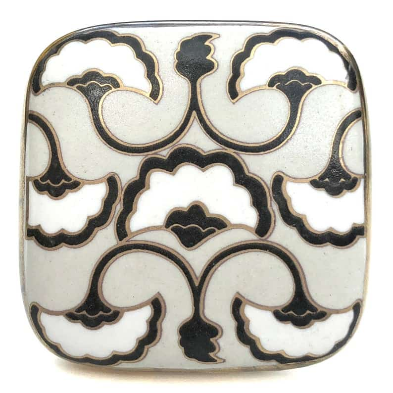 Art Deco style drawer pulls black white and grey