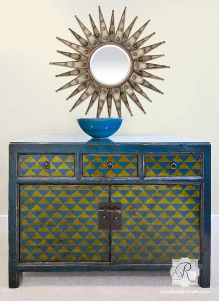 Art Deco triangles furniture stencil