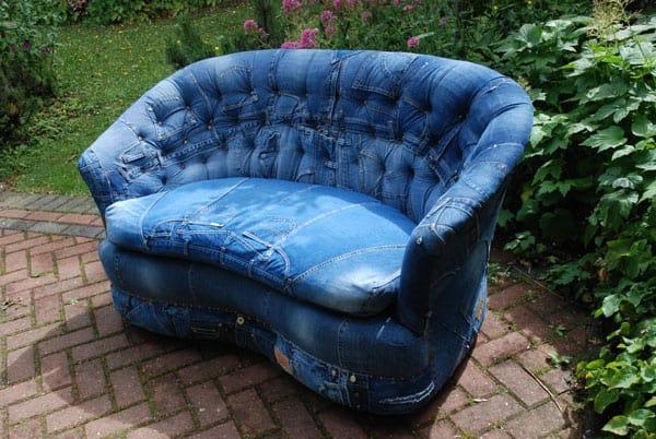 denim upholstered sofa