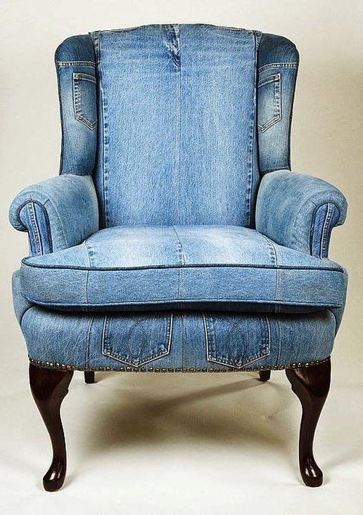 denim covered chair