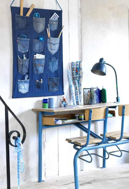 craft station wall organiser from old jeans