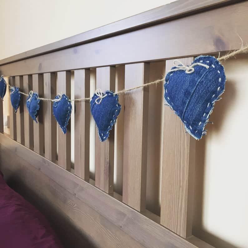 DIY denim heart bunting