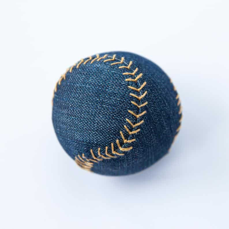 baseball made from old blue jeans tutorial
