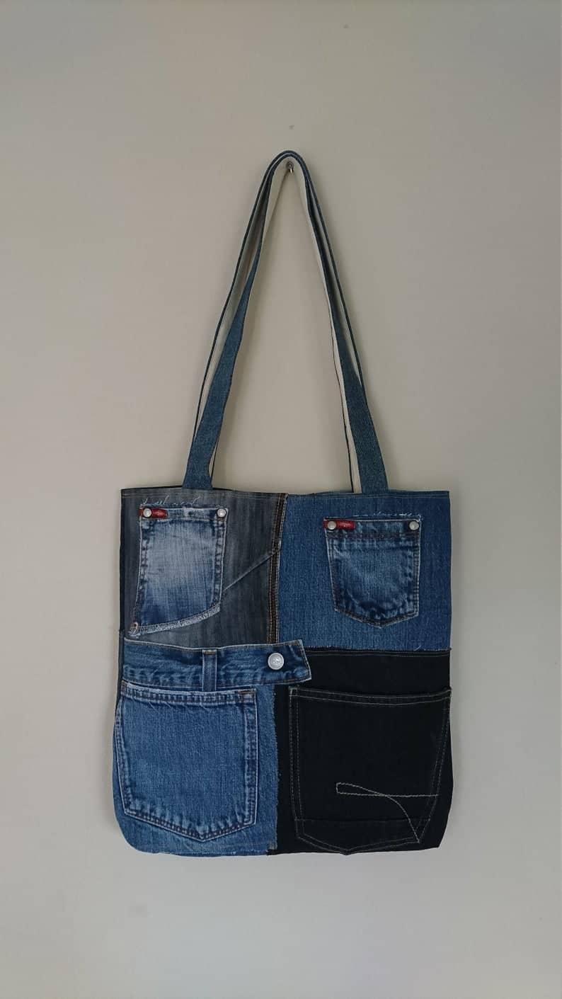 upcyled blue jeans bag