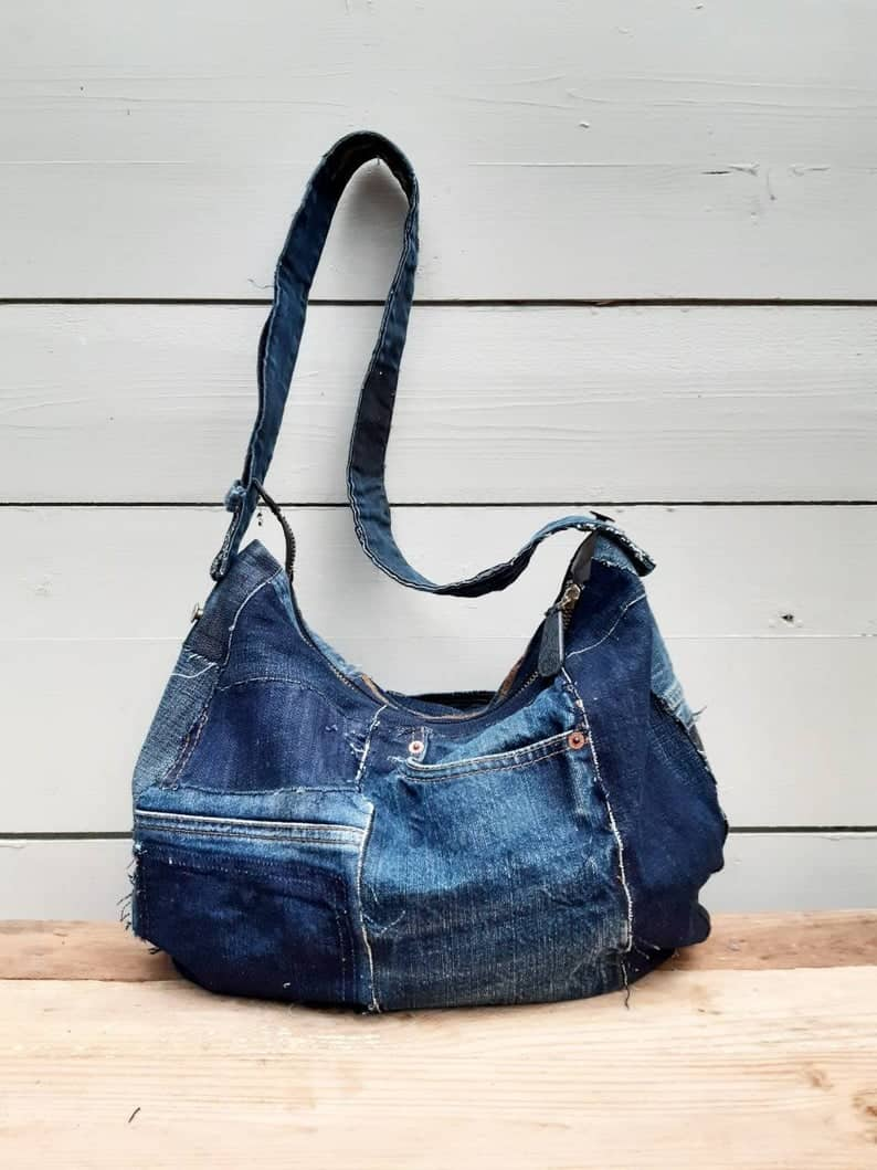 satchel bag made from old jeans