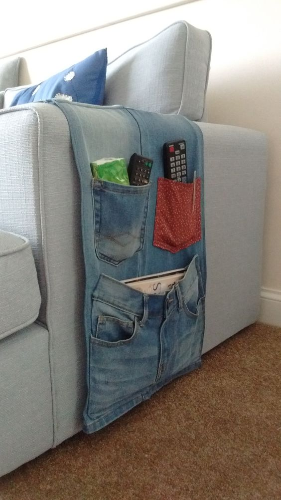 sofa organiser for remote controls from old jeans