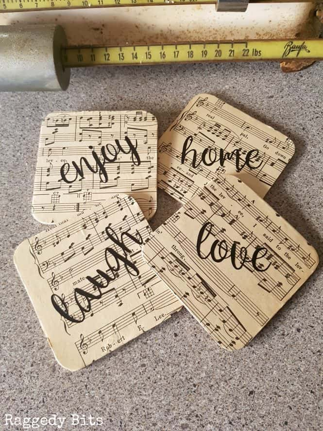 sheet music DIY coasters gift