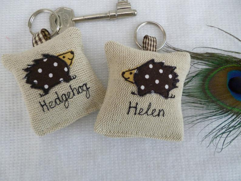 diy scrap fabric personalised keyring gift
