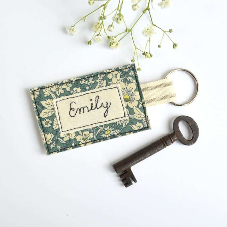scrap fabric key ring personalised gift