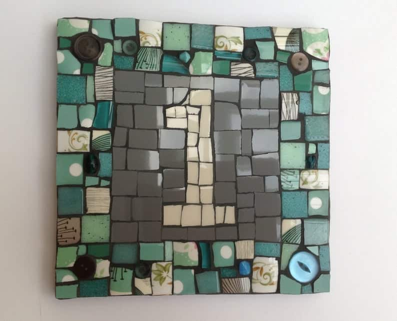 mosaic house number DIY personalised gift