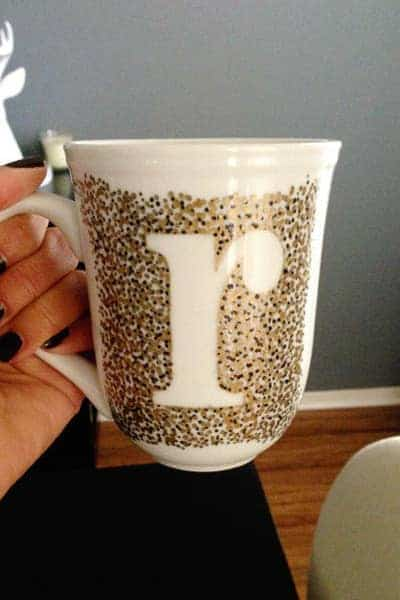 diy monogram mug gold