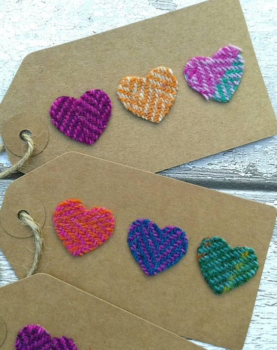 Harris tweed heart gift tags
