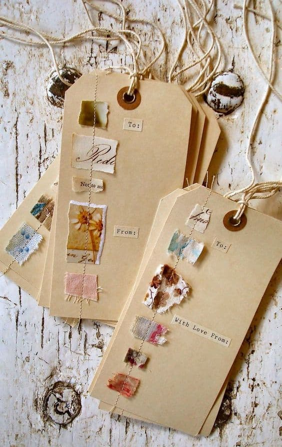 upcycled gift tags scrap book style