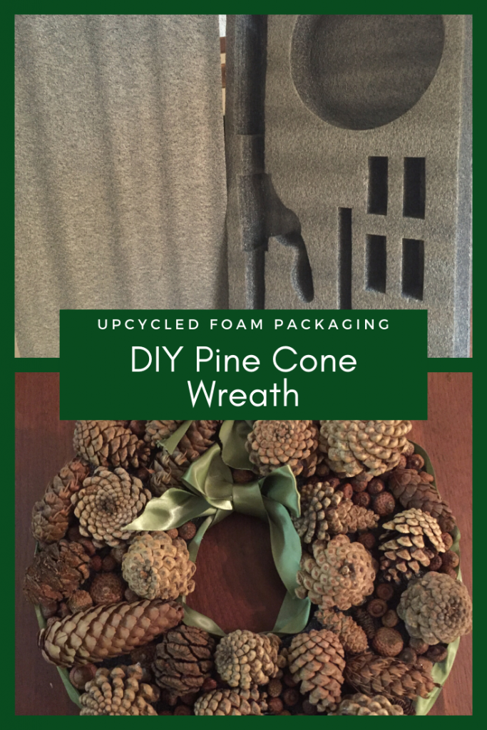 DIY pine cone wreath tutorial using upcycled materials