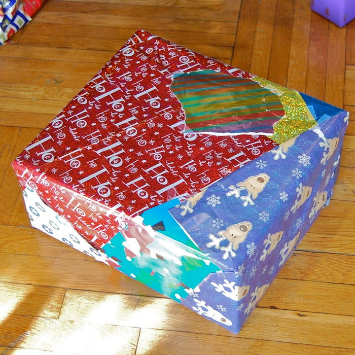 gift box decoupaged with old christmas paper
