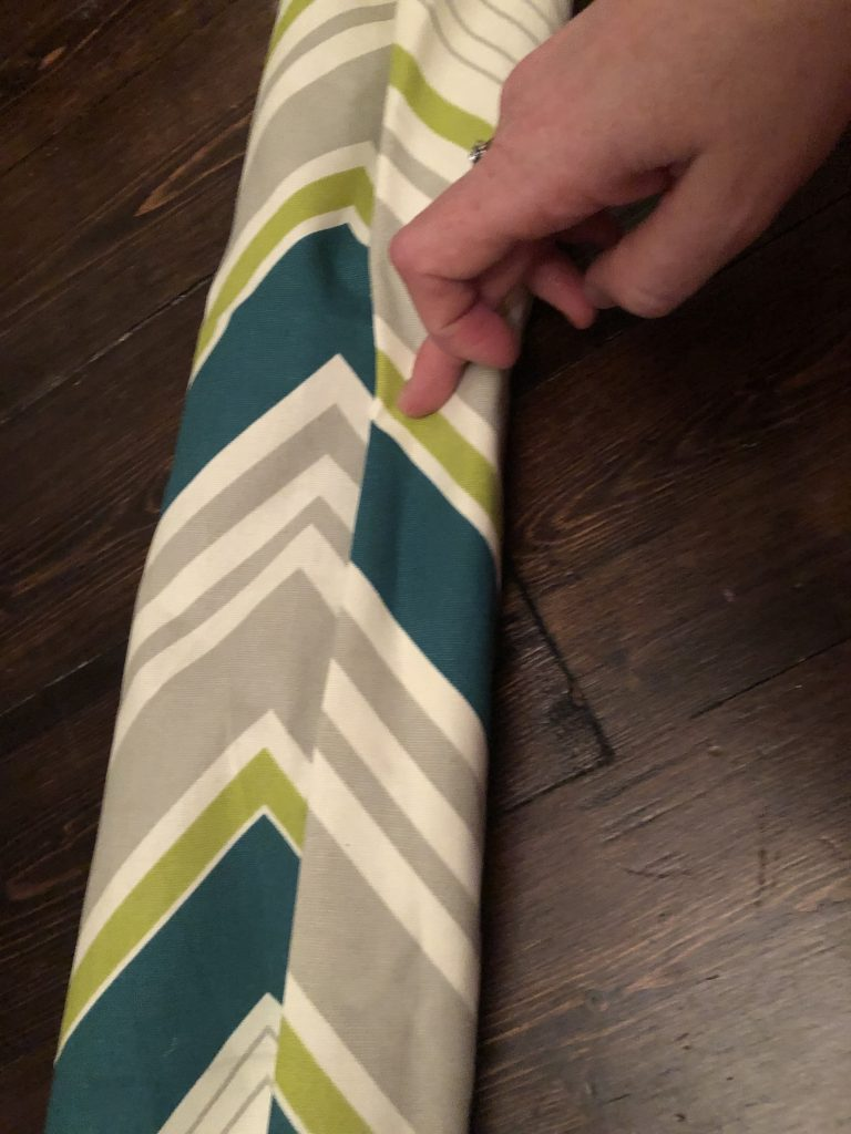 upholstery fabric reused as gift wrap