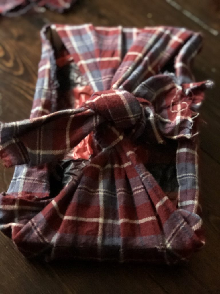 old clothing as fabric gift wrap