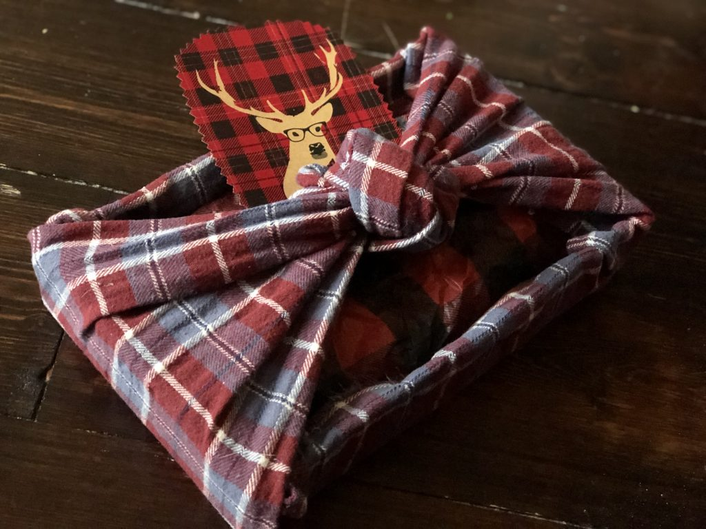 upcycled pyjama bottoms as gift wrap