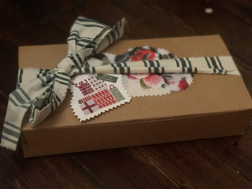 scrap fabric and packaging as gift wrap