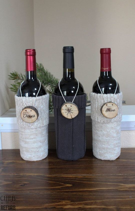 upcycled wine bottle gift bag from a sweater