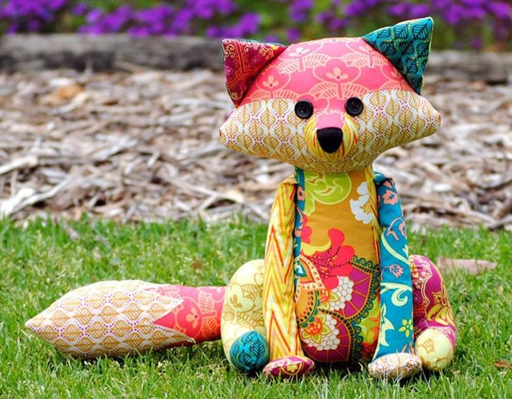 stuffed fox sewing pattern for scrap fabric