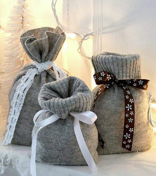 use an old sweater as a gift bag