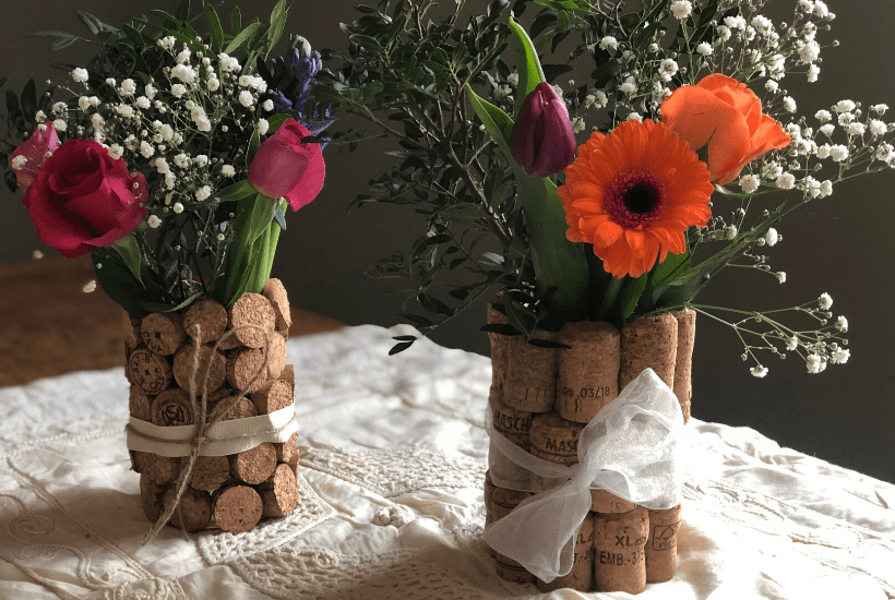 DIY wedding centrepieces from upcycled corks