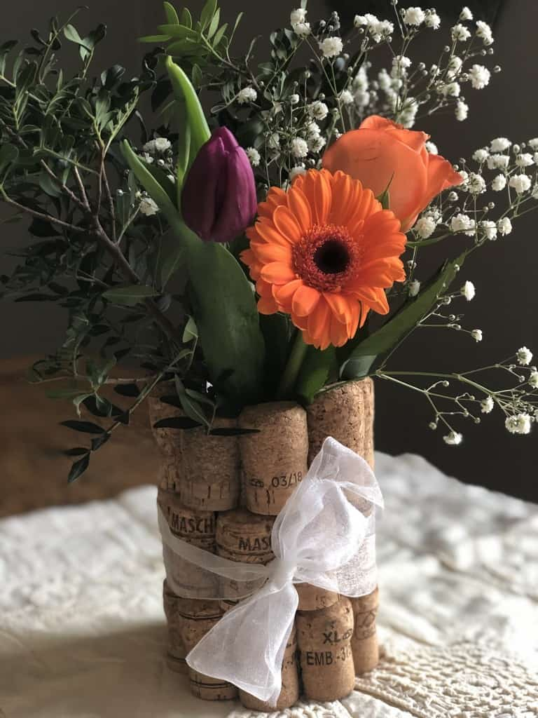 diy wedding centrepiece upcycled from corks