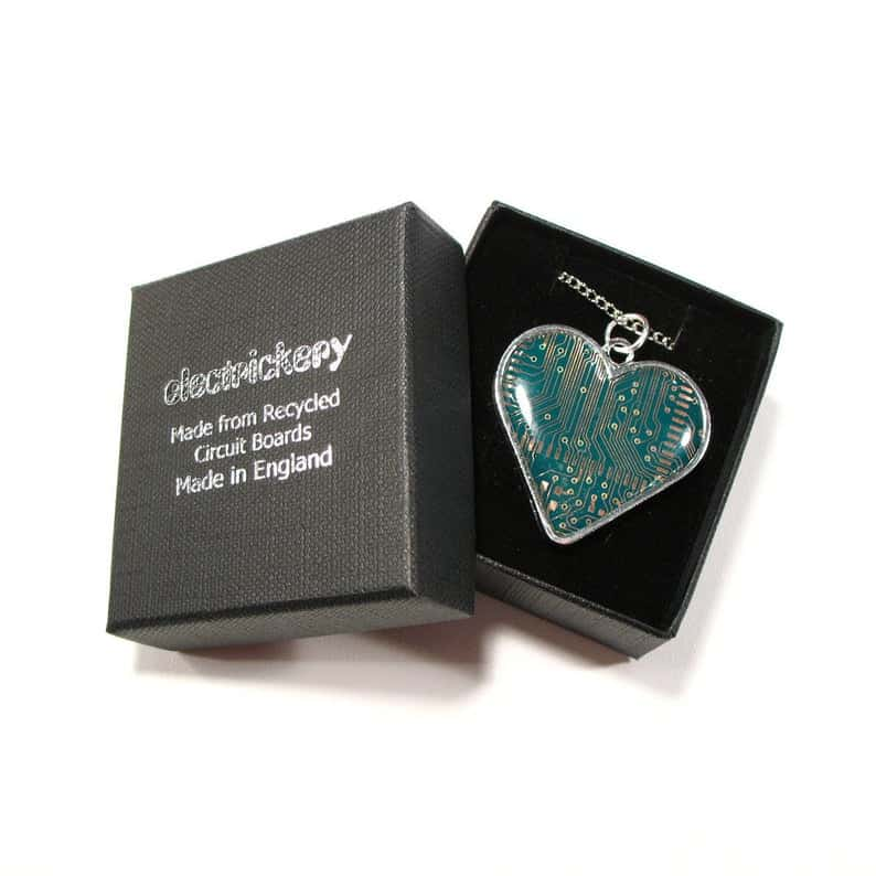 circuit board heart necklace valentine's day gift