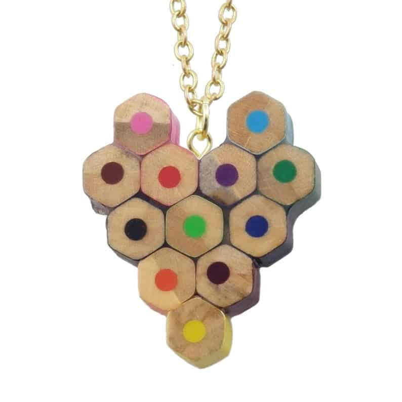 coloured pencil heart necklace valentine's day gift