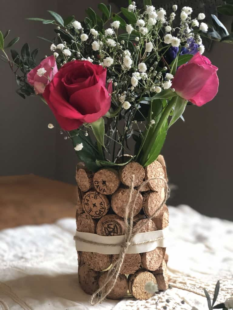 diy cork wedding centrepiece