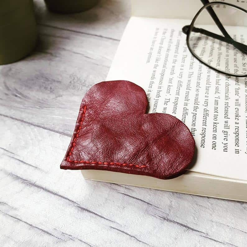 handmade valentine's day gift leather heart bookmark