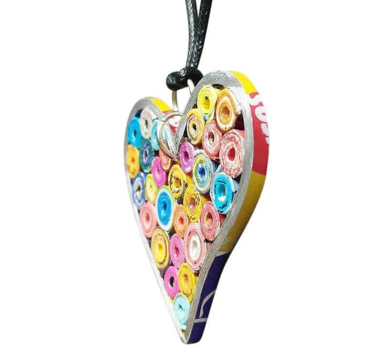 upcycled magazines heart necklace valentine's day gift