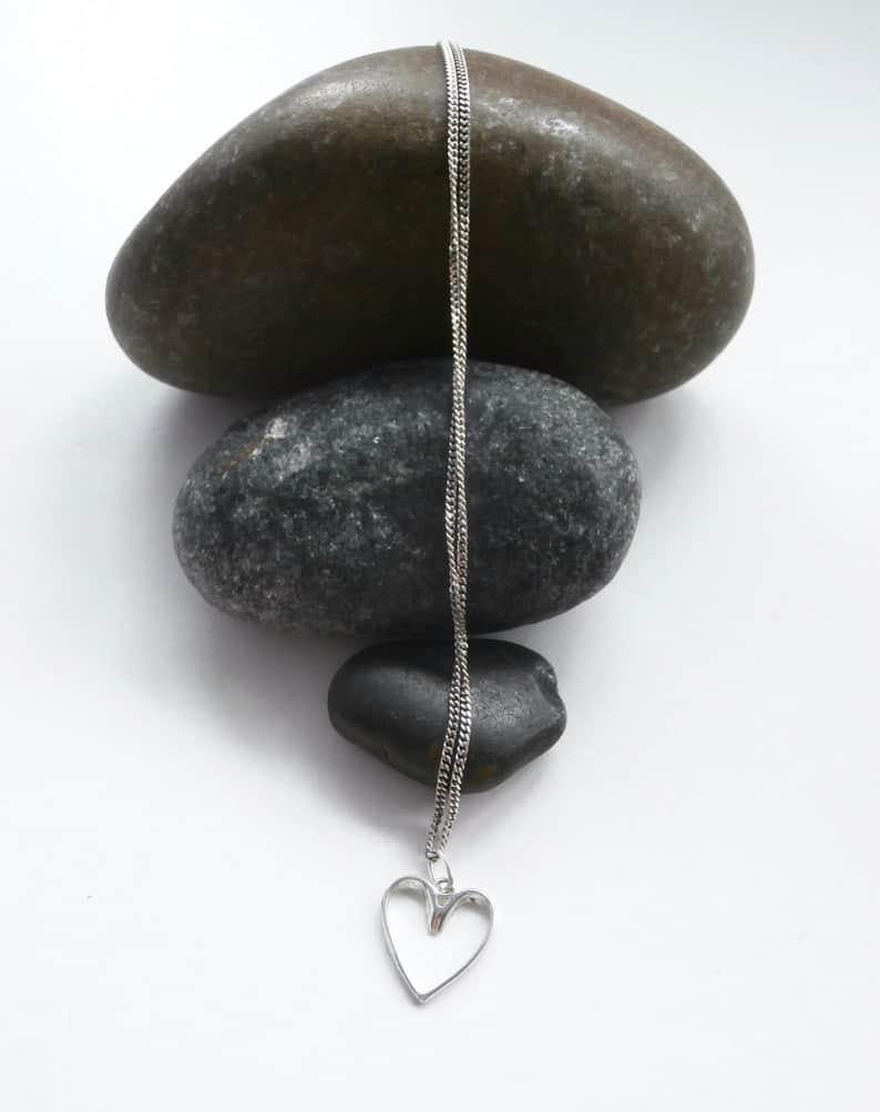 upcycled heart neckalce valentine's day gift