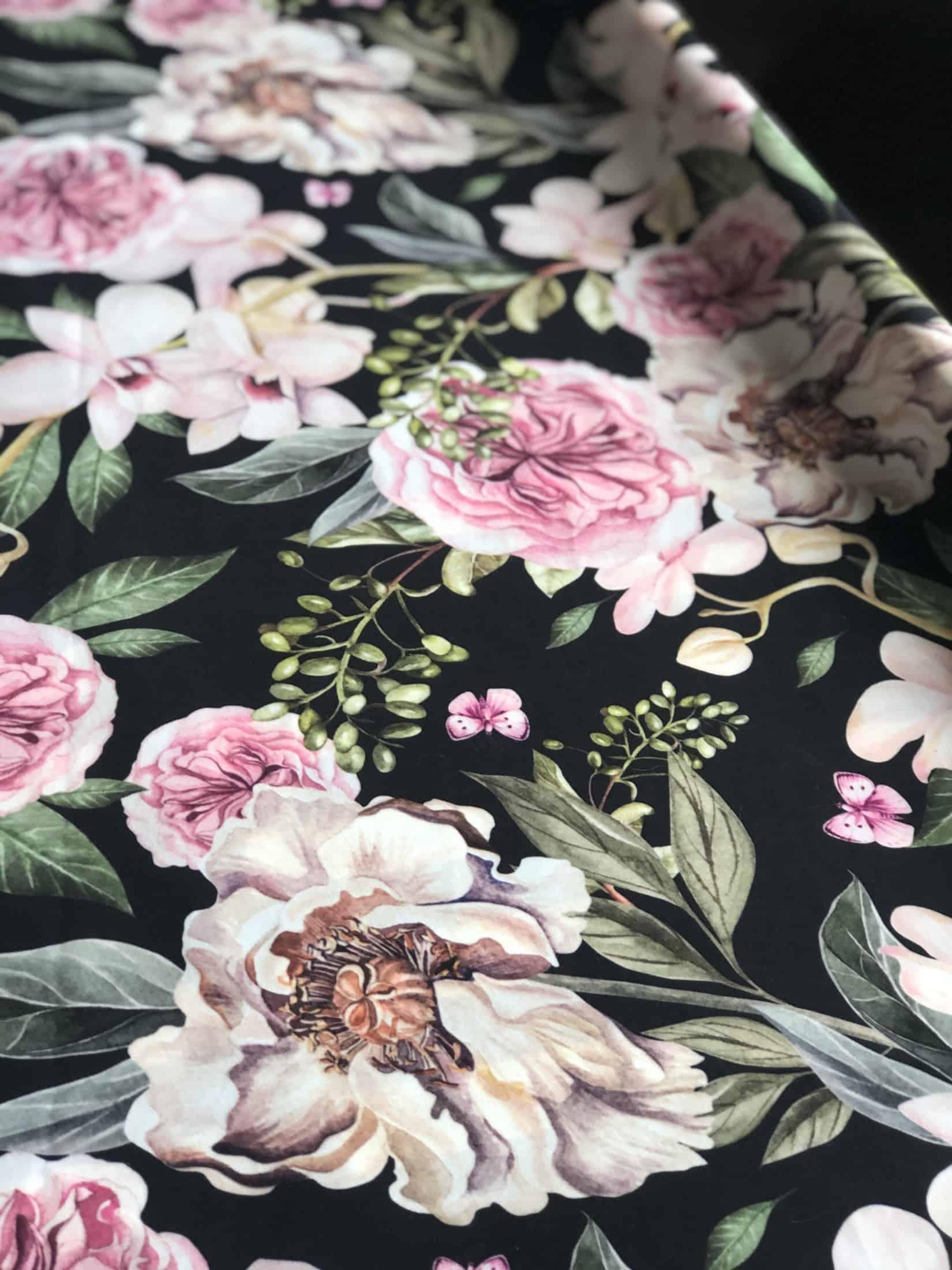 Peony Flowers Upholstery Fabric, Printed Velvet