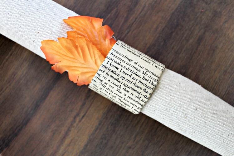 DIY wedding book page napkin ring