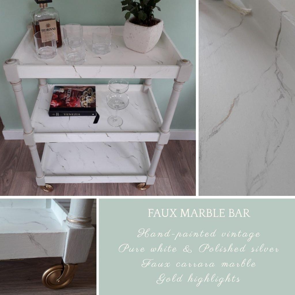 marble effect drinks trolley