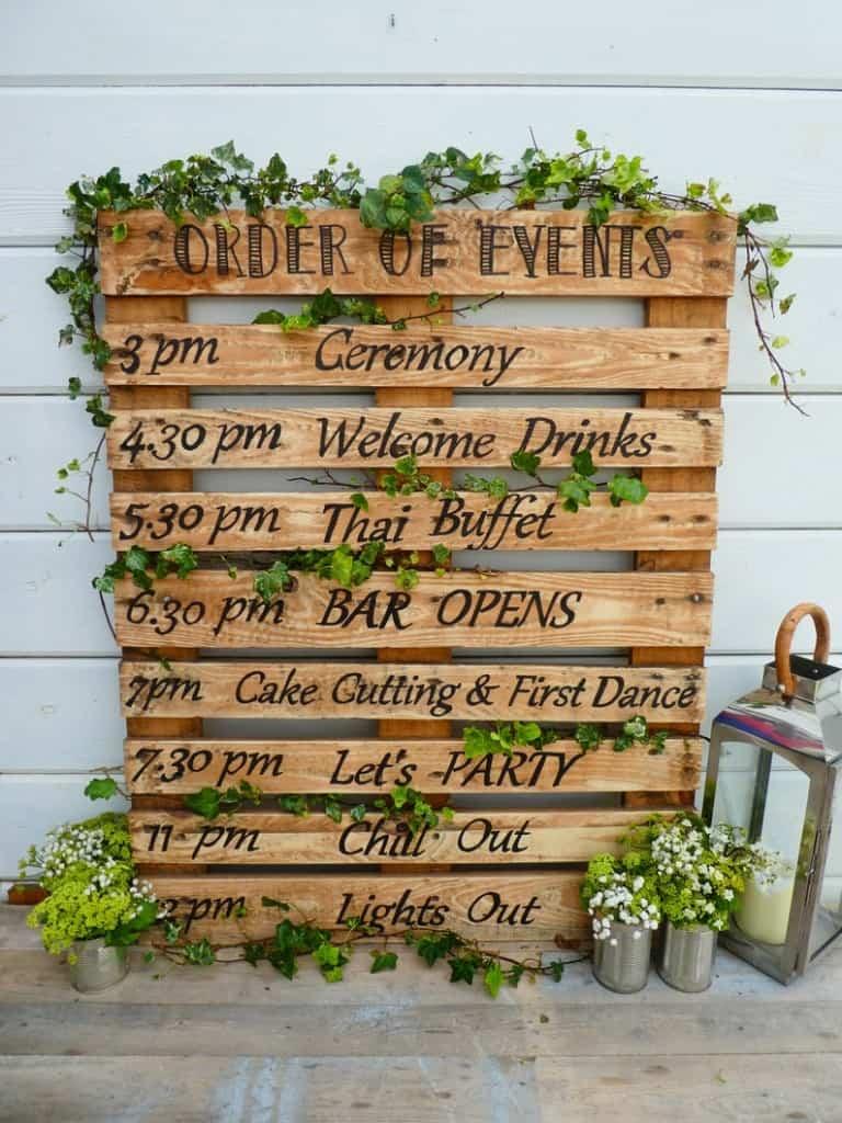 wedding order of service sign pallet wood