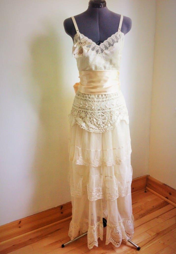 upcycled 1920s art deco wedding dress