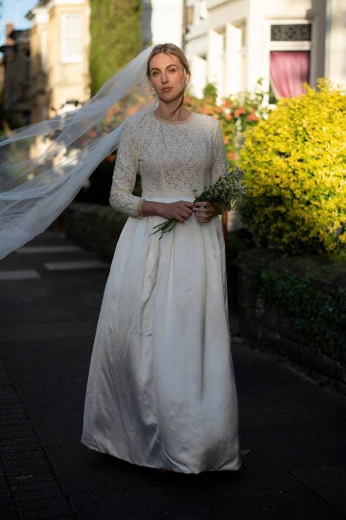 upcycled long sleeved wedding dress