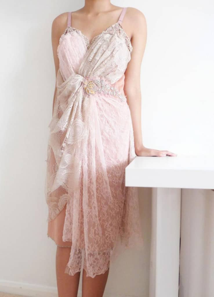 upcycled pink lace weding dress