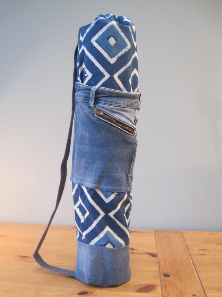 denim upcycled yoga bag mothers day gift idea