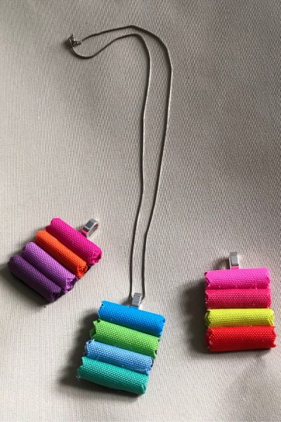 fabric swatch diy necklace pendant