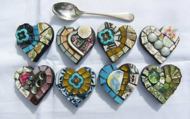 mosaic heart magnets for mothers day gifts