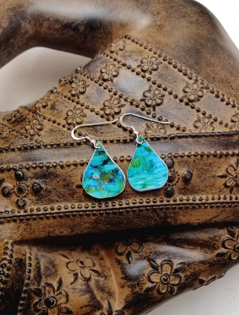 mothers day gifts on etsy upcycled water lilies earrings