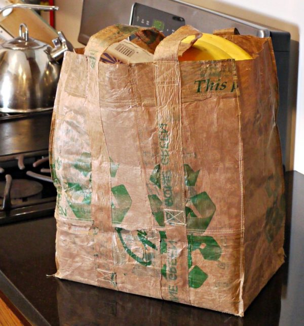 DIY tote bag made from plastic carrier bags